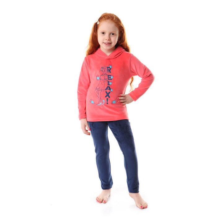 Girls Soft Fleeces Stitched Pajama Set - Coral & Navy Blue