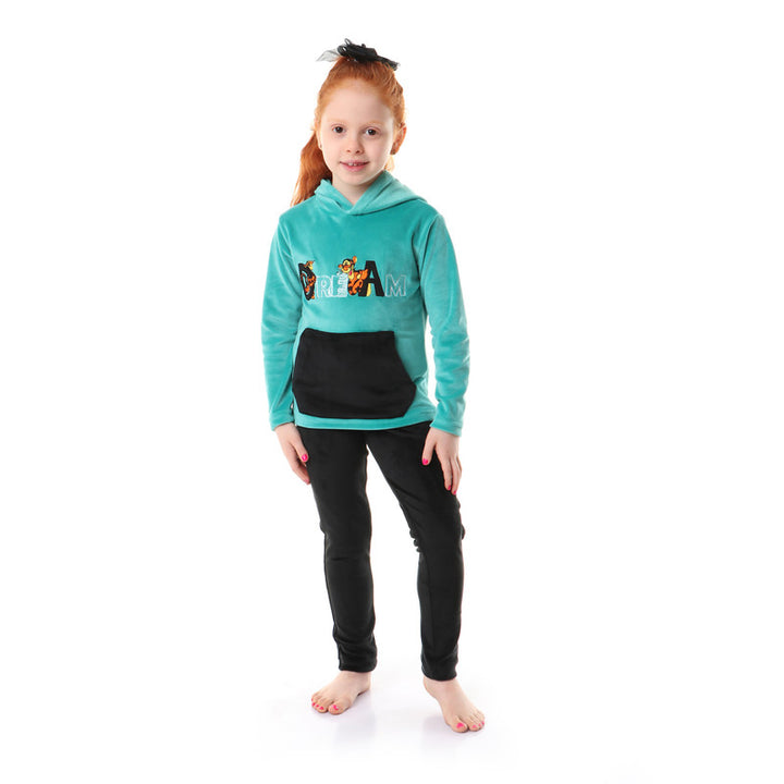 Girls Soft Fleeces Stitched Pajama Set  _ Green & Black