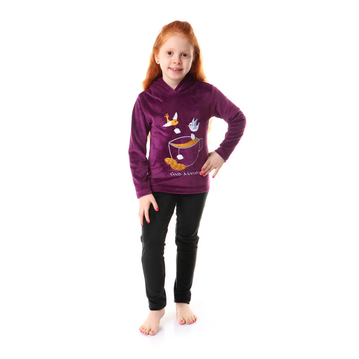 Girls Soft Fleeces Stitched Pajama Set - Purple & Black