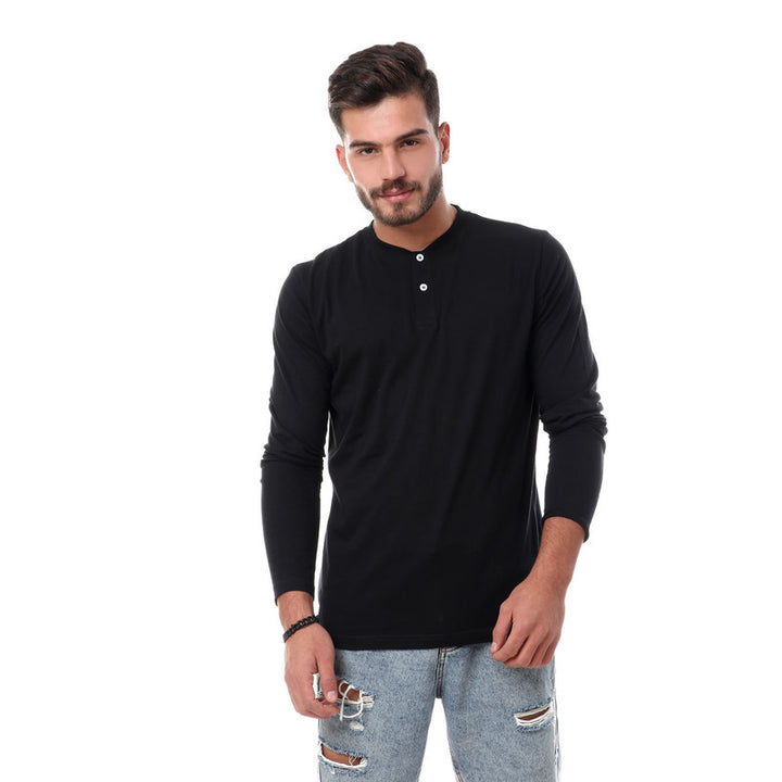 Solid Basic Buttoned Henely T-shirt - Black