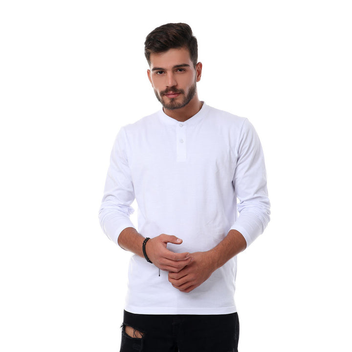 Solid Basic Buttoned Henely T-shirt - White