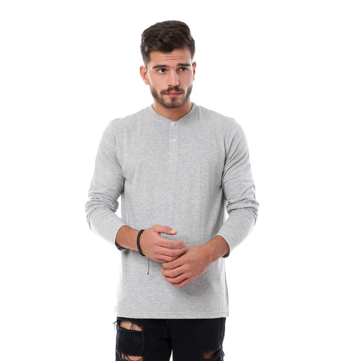 Solid Basic Buttoned Henely T-shirt - Heather Grey
