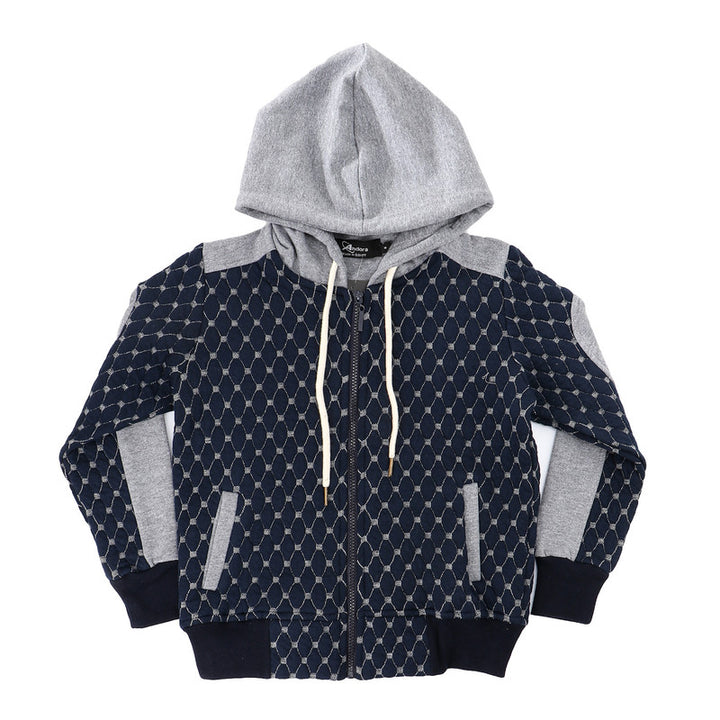 Boys Zipped Heavyweight Jacket - Navy Blue & Grey