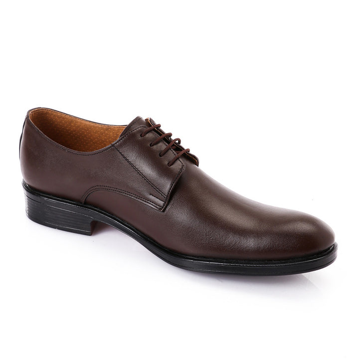 Classic Solid Oval Lace Up Oxford - Dark Brown