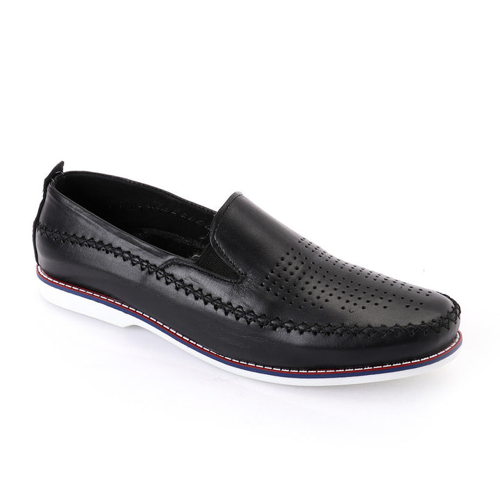 Semi Perforated Slip On Loafer - Black