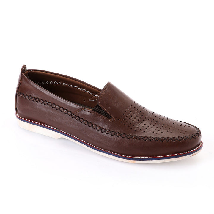 Semi Perforated Slip On Loafer - Brown