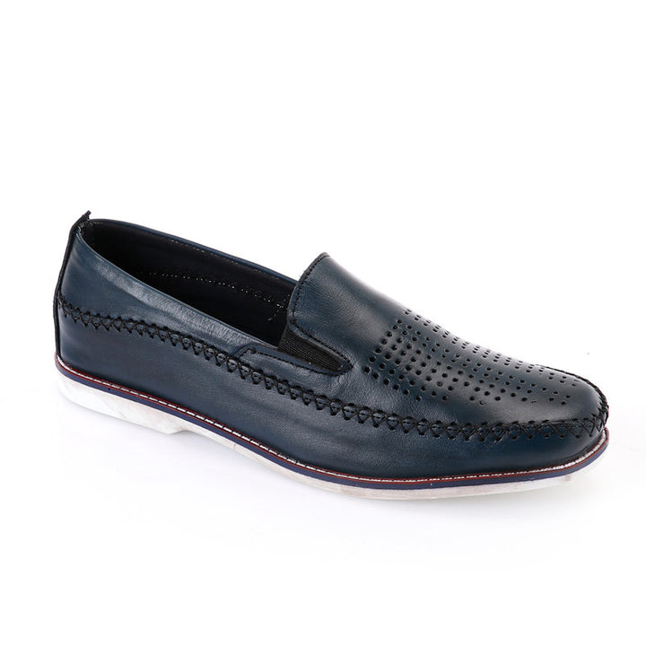 Semi Perforated Slip On Loafer - Navy Blue