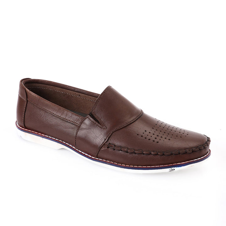 Front Stitched Slip On Loafer - Brown