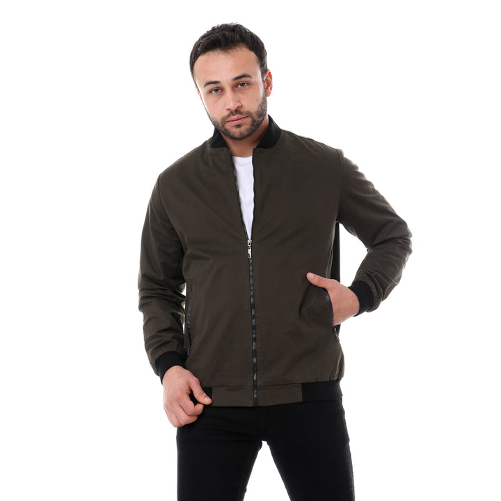 Leather Pockets Accent Jacket - Olive & Black