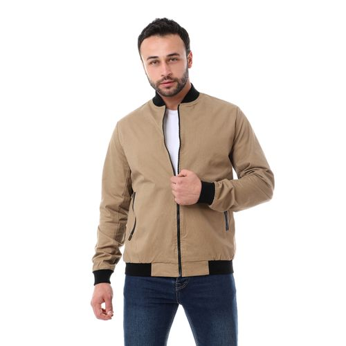 Leather Pockets Accent Jacket - Light Brown & Black