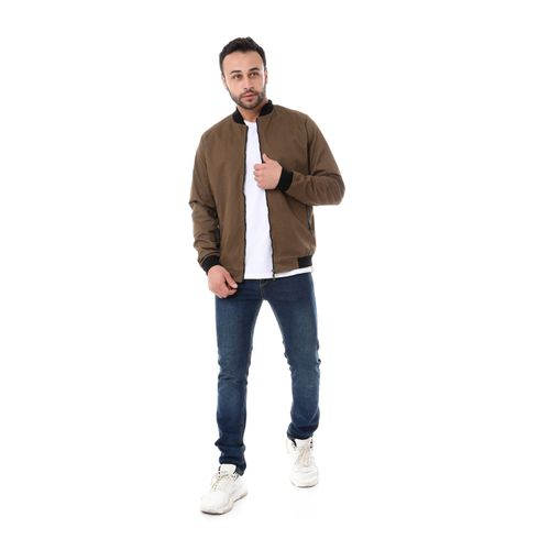 Leather Pockets Accent Jacket - Beige & Black