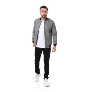 Linen Self Patterned Jacket - Grey