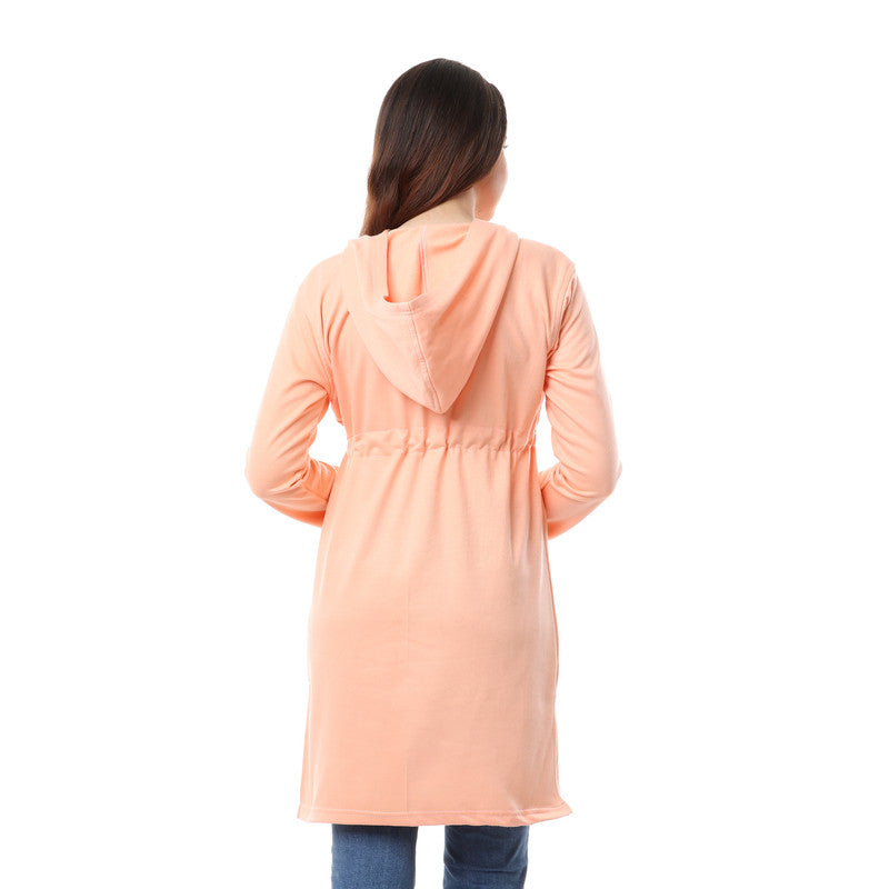 Side Slits Plain Long Hoodie - Simon