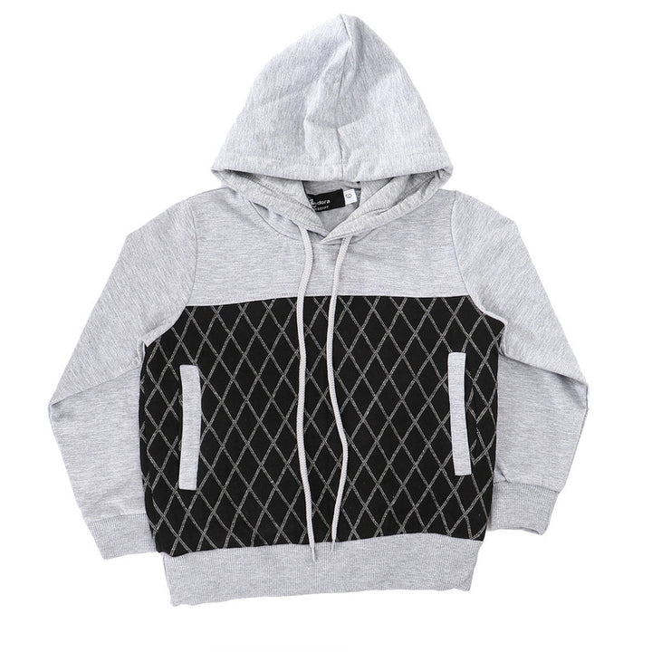 Boys Bi-Tone Stitched Diamonds Hoodie - Grey & Black