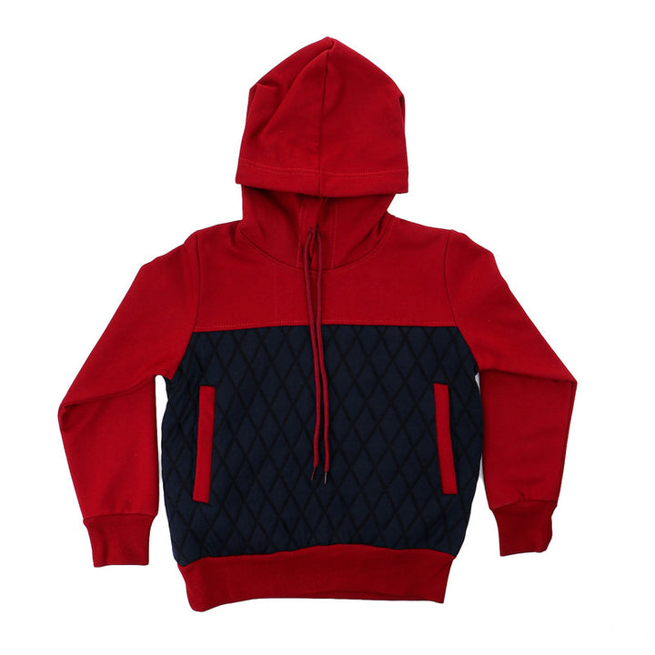 Boys Bi-Tone Stitched Diamonds Hoodie - Red & Navy Blue