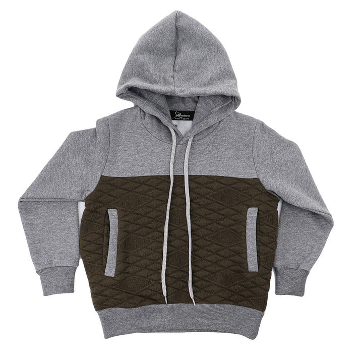 Boys Bi-Tone Slip On Winter Hoodie - Grey & Dark Olive