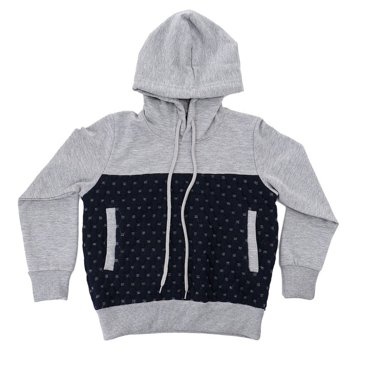Boys Bi-Tone Hooded Neck Hoodie - Grey & Navy Blue
