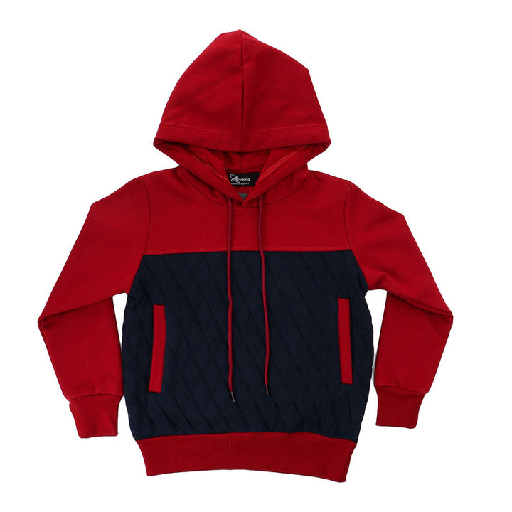 Boys Bi-Tone Hooded Neck Hoodie - Dark Red & Navy Blue