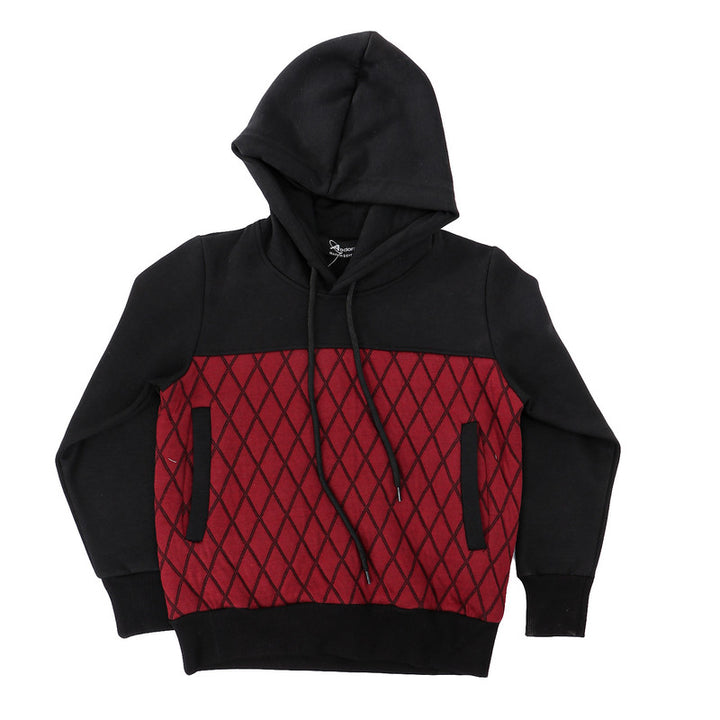 Boys Bi-Tone Hooded Neck Hoodie - Black & Burgundy