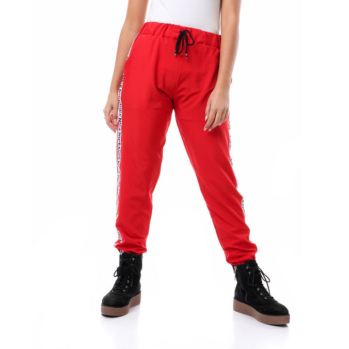Side Tape Polyester Pants With Hem - Red
