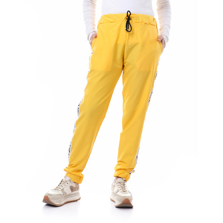 Side Tape Polyester Pants With Hem - Yellow