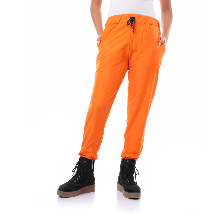Side Tape Polyester Pants With Hem - Orange