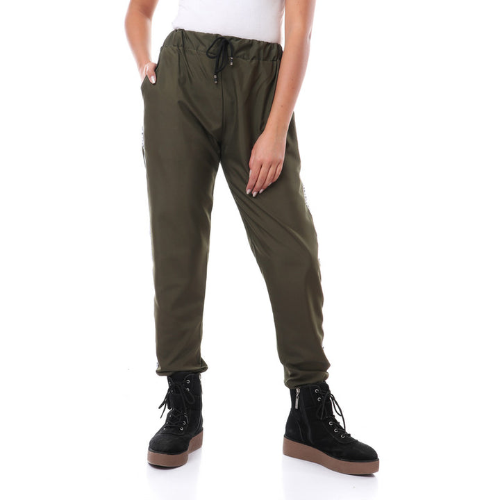 Side Tape Polyester Pants With Hem - Olive