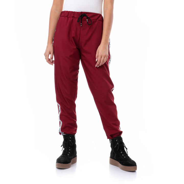 Side Tape Polyester Pants With Hem - Burgundy