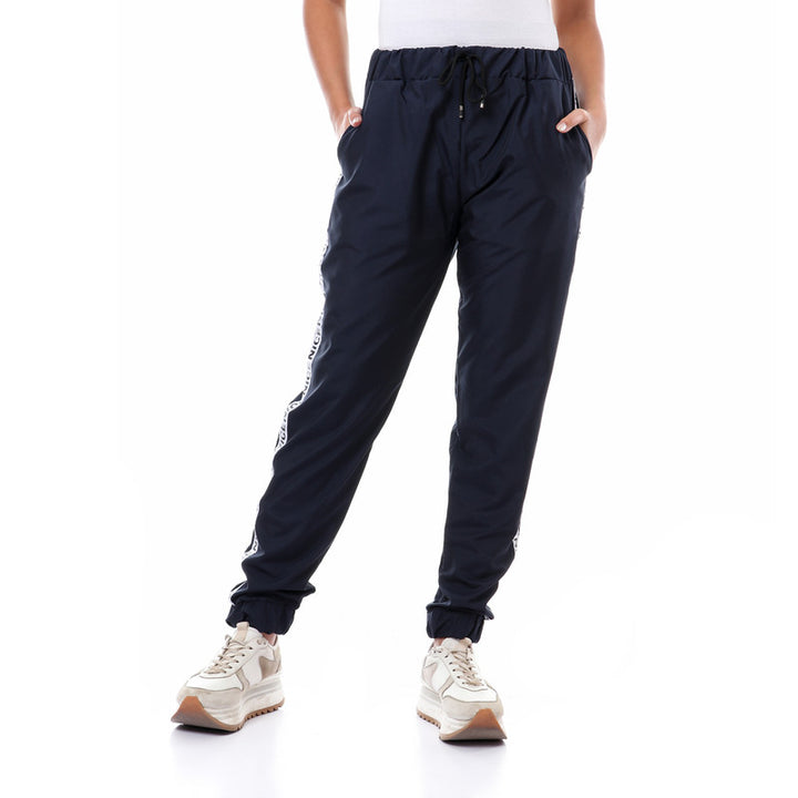 Side Tape Polyester Pants With Hem - Navy Blue