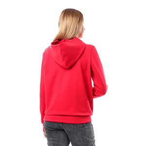 Stitched Sequin Butterfly Hoodie - Red