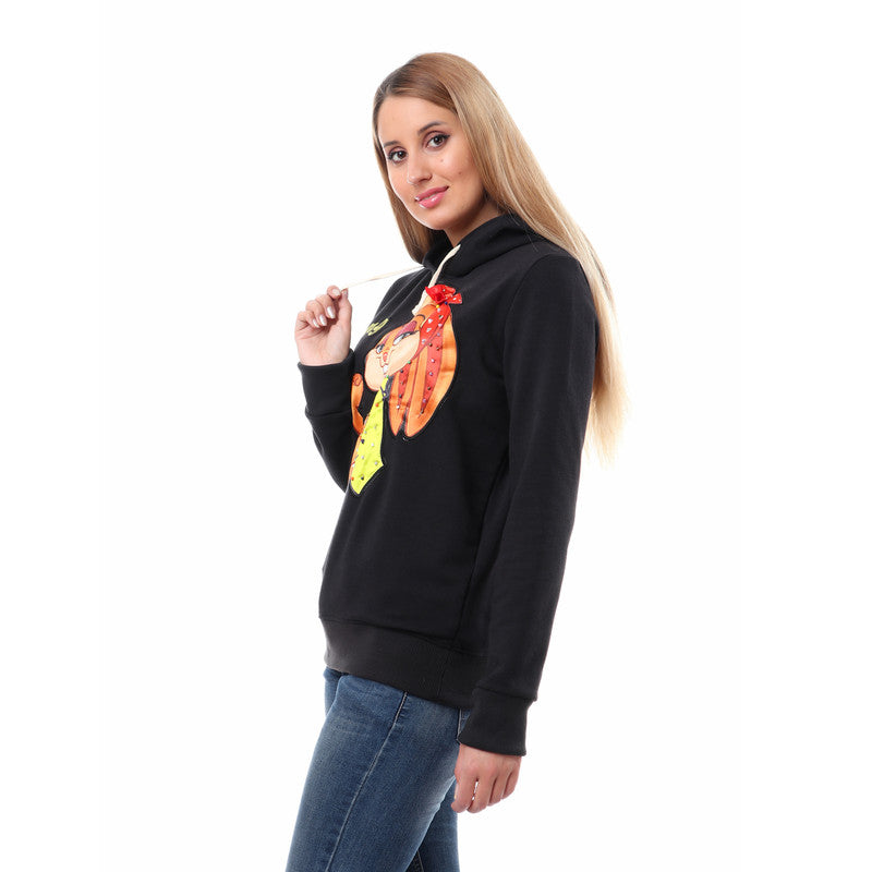 """Strong Girl"" Stitched Long Sleeves Hoodie - Black"