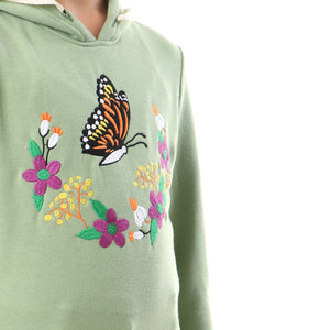 stitched winter cotton hoodie - jade green