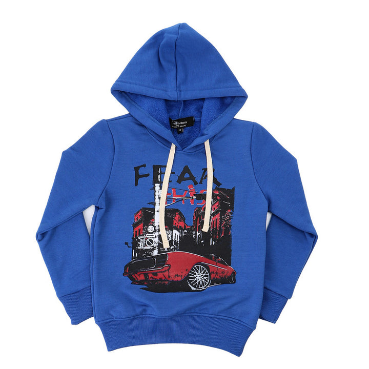 "Boys Printed ""Fear"" Royal Blue Hoodie"