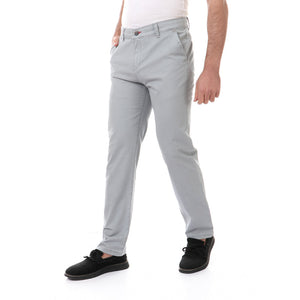 Gabardine Fly Button Zipper Pants - Grey