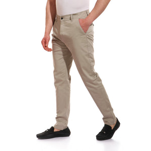 regular fit plain button closure pants - light olive