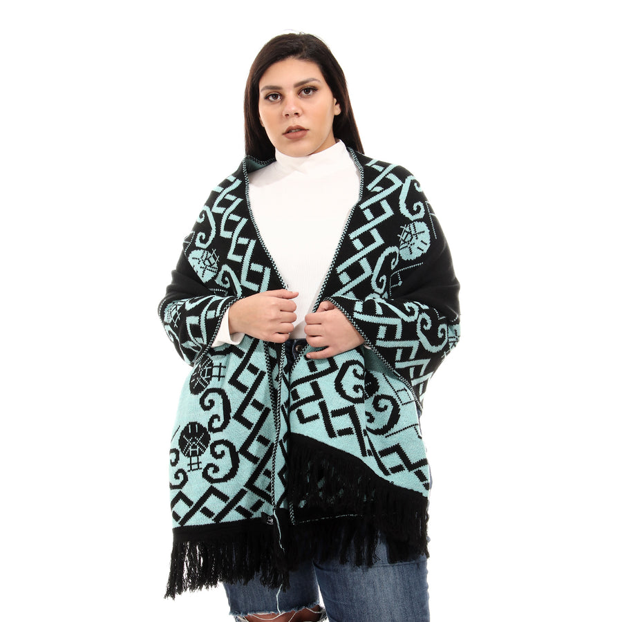 Double Face Patterned Fringed Trim Aqua Shawl