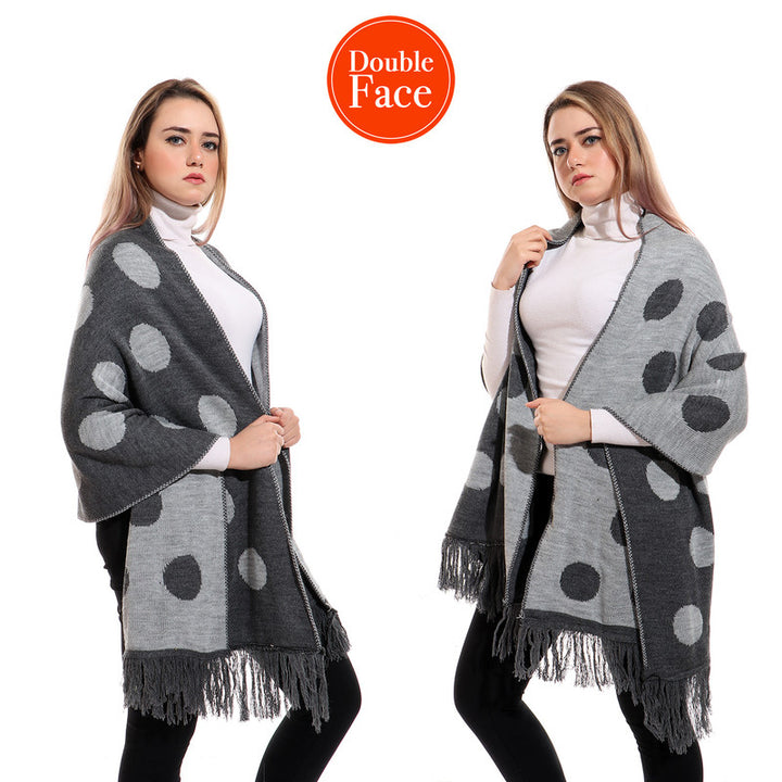 Large Polka Dots Double Face Shawl - Grey