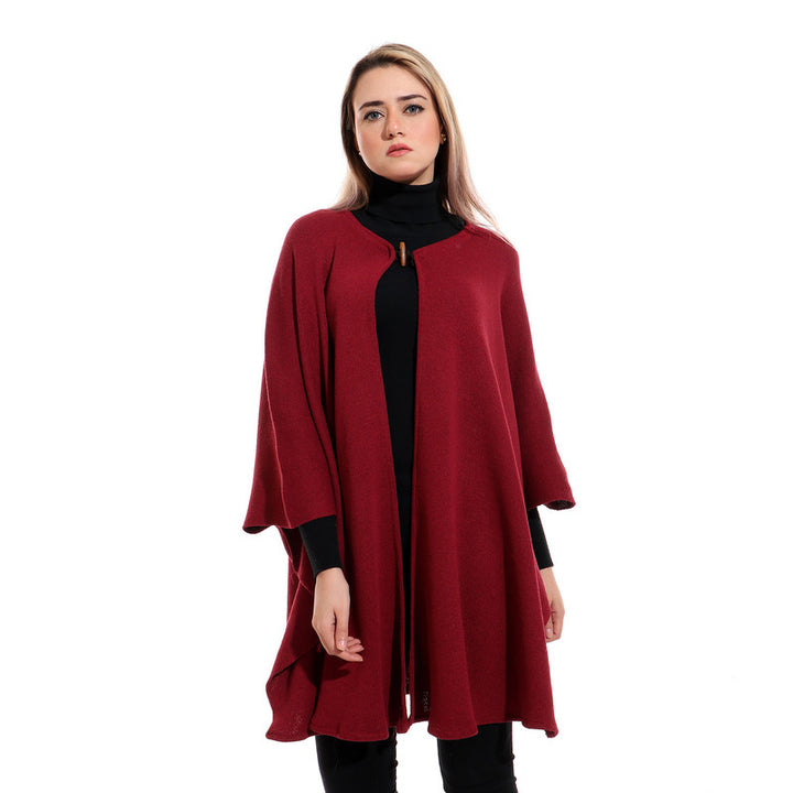 Solid Slip On Burgundy Cozy Cape