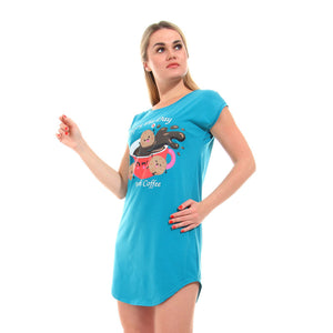 "Printed "" Enjoy The Day With Coffee"" Sleepshirt- Turquoise"