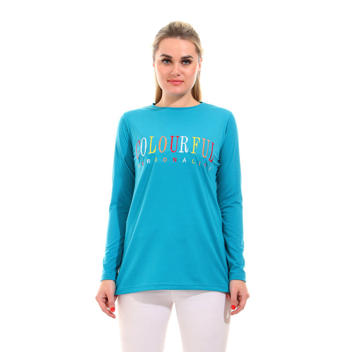 "Embroidered "" Colorful Personality "" Tee - Turquoise"