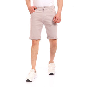 Gabardine Ribbed Hem Zipper Short - Light Grey