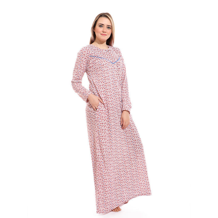 Floral Slip On Long Sleeves Nightgown - Red