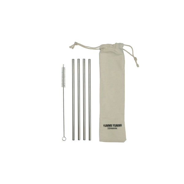 Yummii Yummii 4 PCS. Reusable Straws Straight Reusable Straws Stainless Steel 18/8