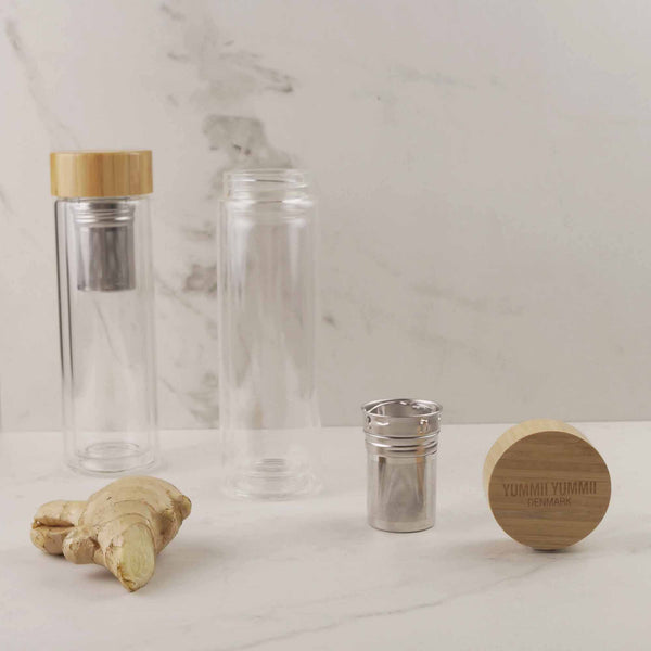 Yummii Yummii Thermo Bottle with Tea Infuser Glass Bottles Borosilicate Glass
