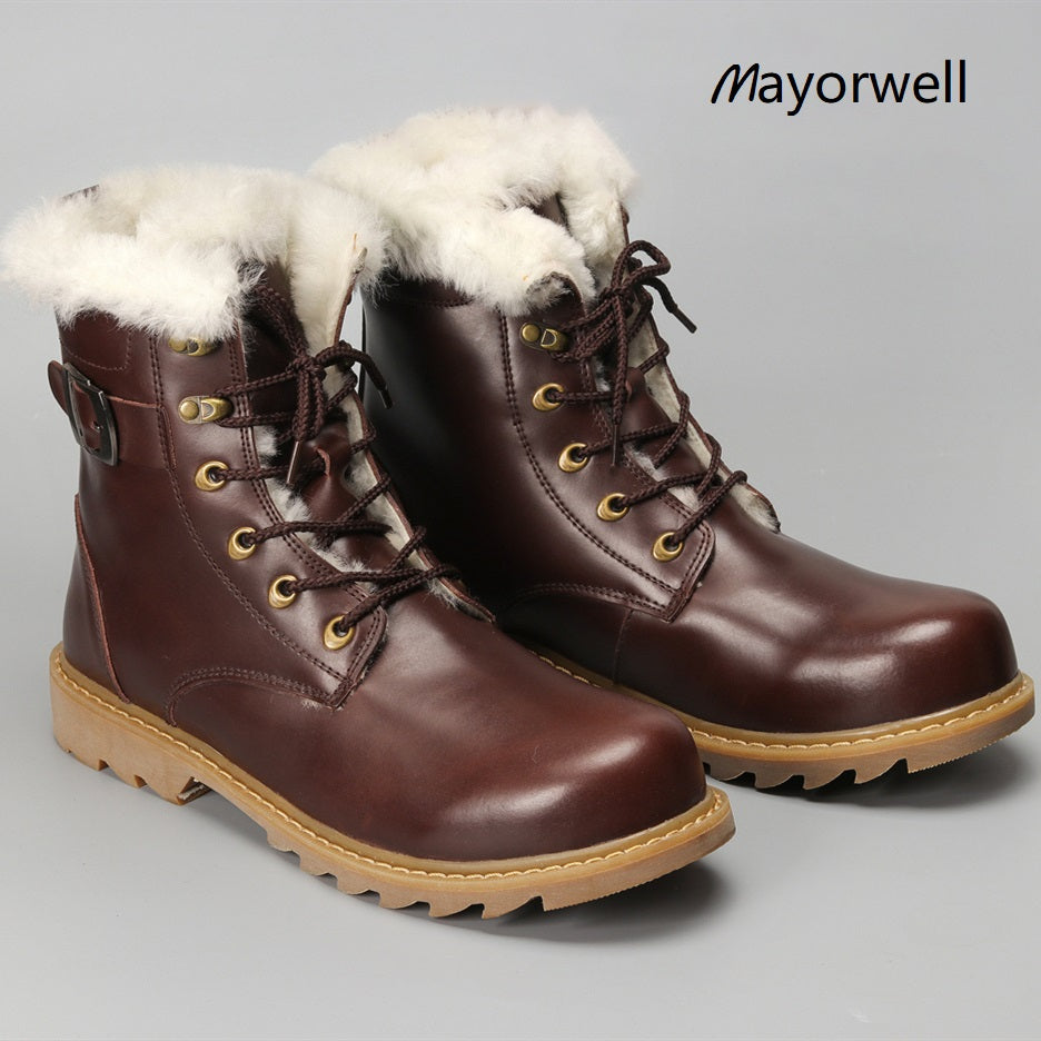 Natural Wool Men Warmest Cow Leather Winter Boots Shoes