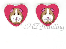 Load image into Gallery viewer, Cute guinea pig heart shaped necklace and earings