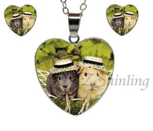 Cute guinea pig heart shaped necklace and earings