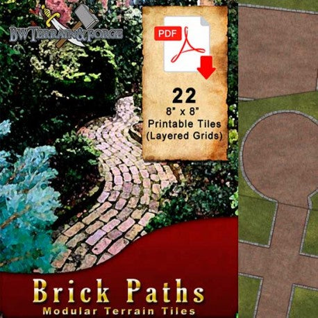 Digital Forge: Brick Paths - Modular Terrain Tiles - bw-terrain-forge