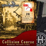 Digital Forge: Collision Course - Disaster Street Modular Terrain Tiles - bw-terrain-forge