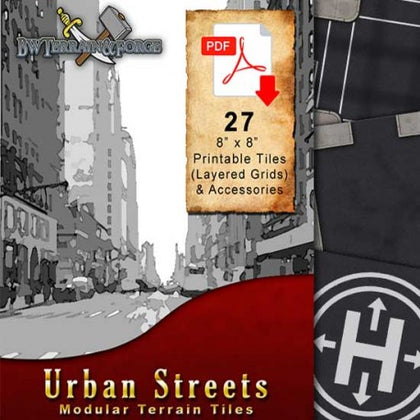 Digital Forge: Urban Streets - City Street 28mm Themed Modular Terrain Tiles - bw-terrain-forge